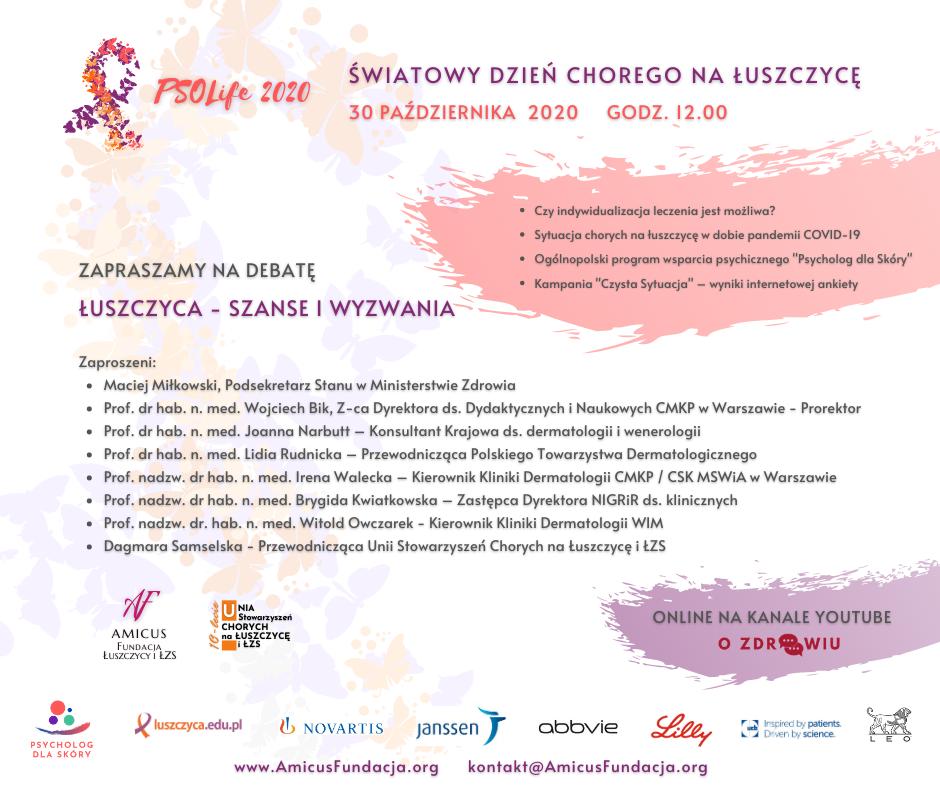 """Debata z okazji Światowego Dnia Chorego na Łuszczycę – 30.10.2020 Szanowni Państwo, serdecznie zapraszam na Debatę """"Łuszczyca – szanse i wyzwania"""" organizowaną z okazji Światowego […]"""